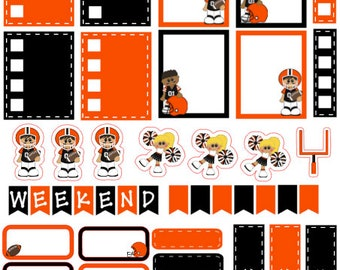 Football Planner Stickers Orange and Black
