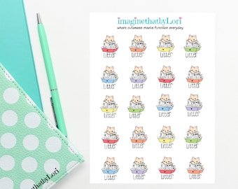 cute cat kitty litter box reading paper planner stickers