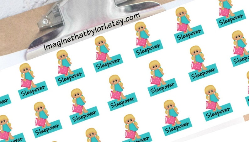 Sleepover planner stickers blonde image 0