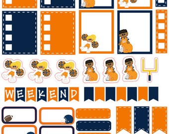 Football planner stickers Orange and Blue