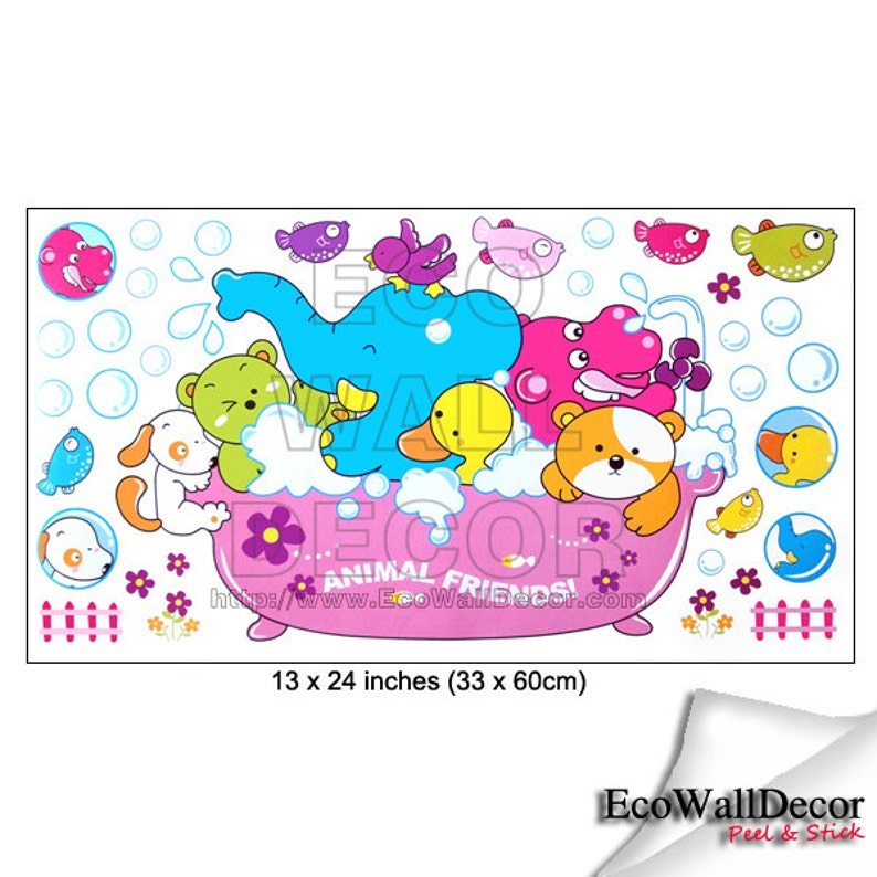 PEEL and STICK Removable Vinyl Wall Sticker Mural Decal Art Animal Ark Family Bath Time