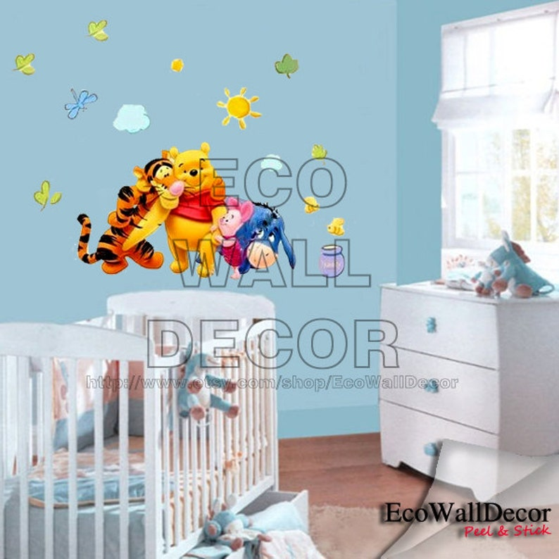 Peel And Stick Kids Nursery Removable Vinyl Wall Sticker Mural Decal Art Winnie The Pooh Tigger And Friend Hugging