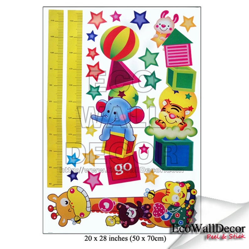 Animals Height Measurement Growth Chart PEEL and STICK Removable Vinyl Wall Sticker Mural Decal Art