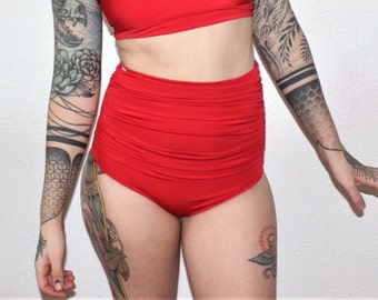 c11c809be1e54 Ruched High Waisted Bikini Swimsuit Bottoms /Custom Size /30+ Colors and  Prints