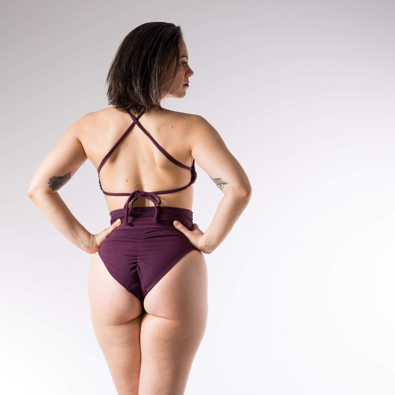 French Cut Scrunch High Waist Bikini Swimsuit Bottoms Size