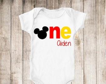 Mickey Inspired First Birthday 1st Birthday Personalized Birthday Shirt - ANY Age