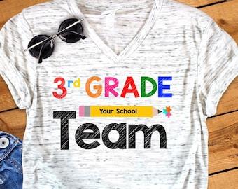 8c494854 3rd Grade Team Back To School First Grade Teacher Novelty Graphic Unisex V  Neck Graphic Tee T-Shirt
