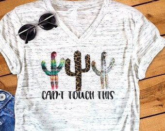 783ec3b55 Can't Touch This Funny Cactus Novelty Bella White Marble Unisex V Neck T- Shirt