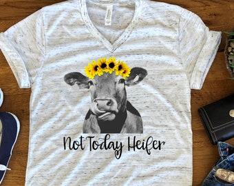 69bee735e Not Today Heifer Sunflower Funny Cow Bella White Marble Unisex V Neck T- Shirt
