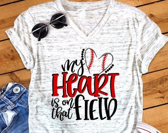 991b47907b9d54 My Heart Is On The Field Baseball Mom Unisex V Neck Graphic Tee T-Shirt