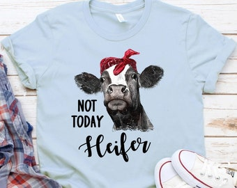 dd6579950 Not Today Heifer Funny Cow Bandanna Farm Tee Novelty T-Shirt