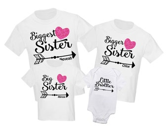 b7b18679461 4 pc Siblings Shirt Set Biggest Sister Big Sister Personalized T-Shirt  Little Brother Shirts