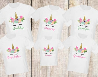 b6f2cee4fa06c Unicorn Girls Birthday Family Shirts Mommy Daddy, Sister, Aunt, Uncle,  Grandma, Grandpa