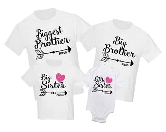 de003a4b347 4 pc Siblings Shirt Set Biggest Brother Big Brother Personalized T-Shirt  Little Sister Big Sister Shirts