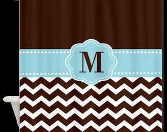 Brown Chevron Monogram Fabric Shower Curtain - You choose accent color
