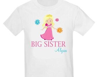 Big Sister Princess Pink Blonde Sister Shirt Personalized T Shirt