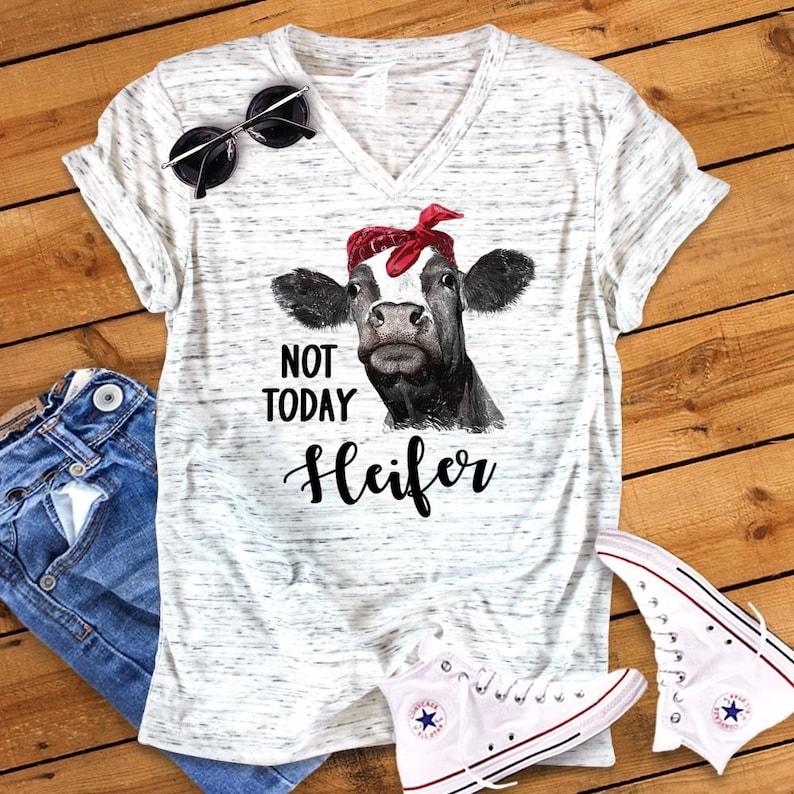 863e18fec Not Today Heifer Funny Cow Bella White Marble Unisex V Neck | Etsy