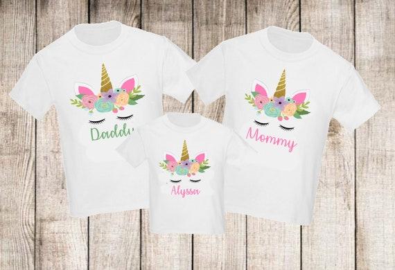1addcd478de3 Unicorn Girl Set of 3 Birthday Family Shirts Set Mom Mommy Dad | Etsy