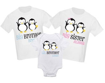3 Pc Big Sister Big Brother Little Brother Set Sibling Shirt Set Penguins Personalized T Shirt - Any combination!