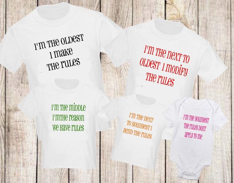 f0f47c62 5 pc Siblings Shirt Set Rule Funny Sister Brother T-Shirt Set   Etsy