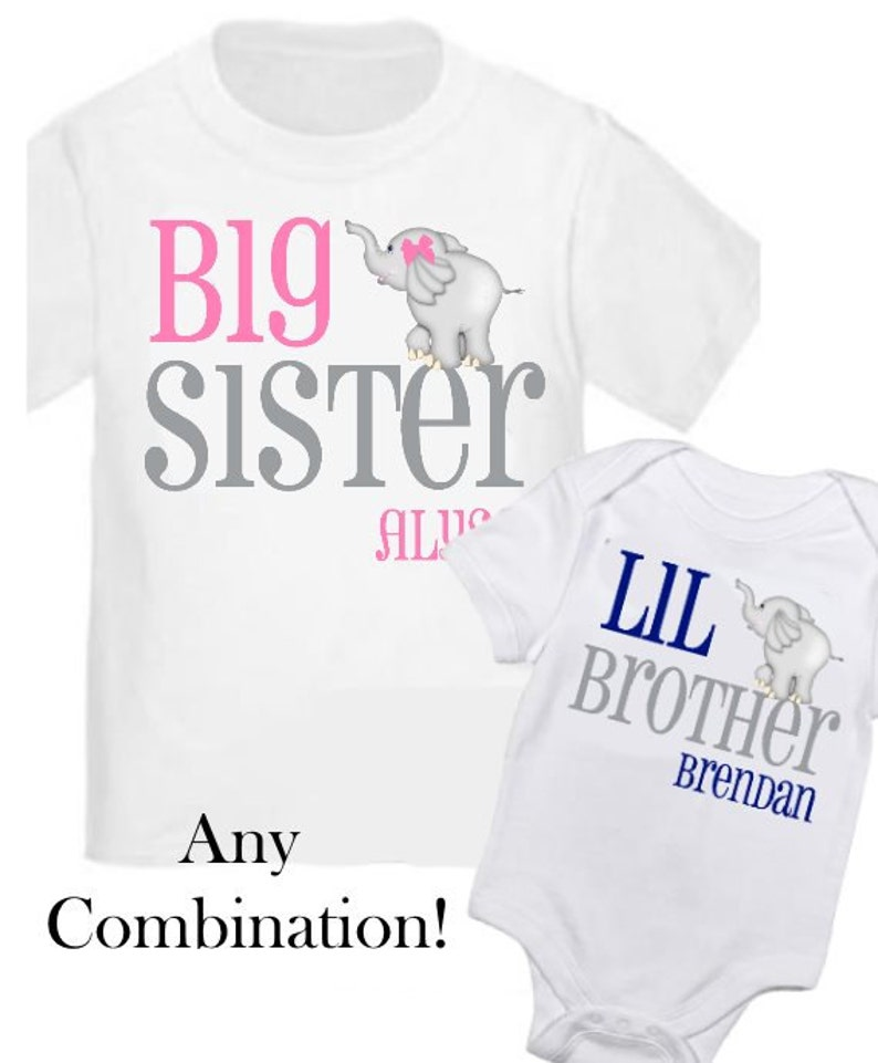 9a1a326f 2 Big Sister and Little Brother Elephant Shirts Personalized | Etsy