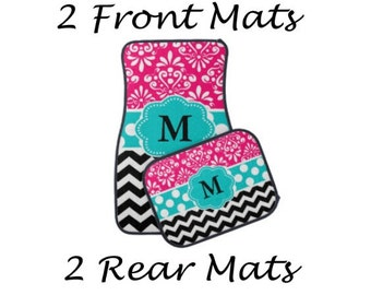 Personalized Custom Front and or Back Car Mats - You choose accent color