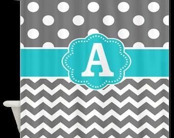 Gray Dots Chevron Monogram Fabric Shower Curtain - You choose accent color