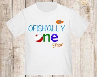 Ofishally One Under the Sea Boys Fishing Personalized Birthday Shirt - ANY Age