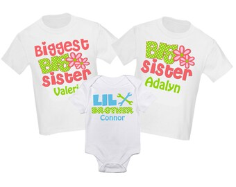 Siblings Shirt Set Big Brother Big Sister Personalized T-Shirt Little Sister Little Brother Shirts