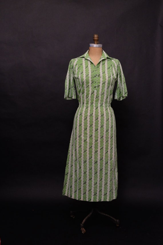 Vintage 1980s Green Shirt Dress