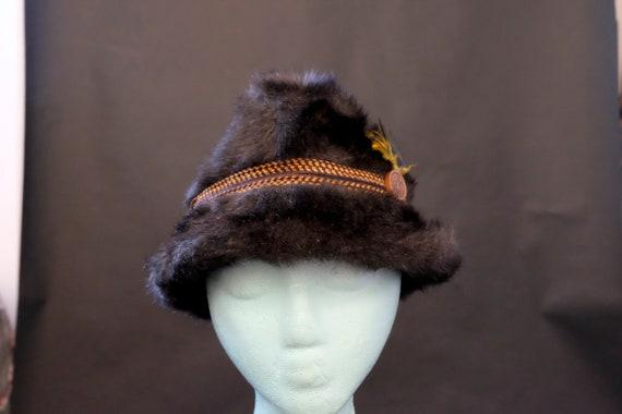 Vintage 1970s Fuzzy Winter Fedora Hat