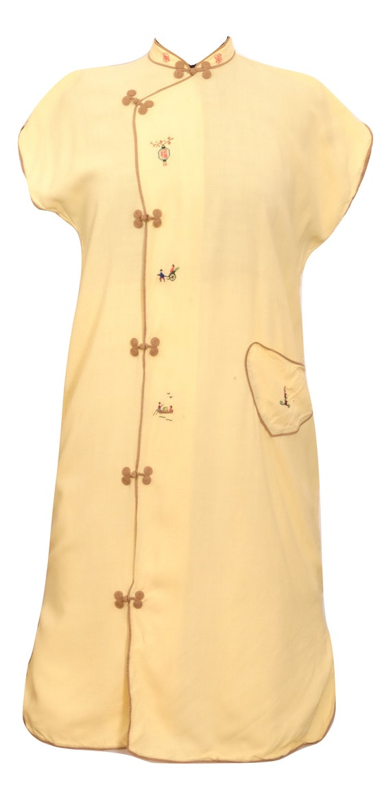 Vintage Asian Cotton Cheongsam Dress