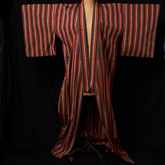 1950s Striped Cotton Homespun Kimono - image 8