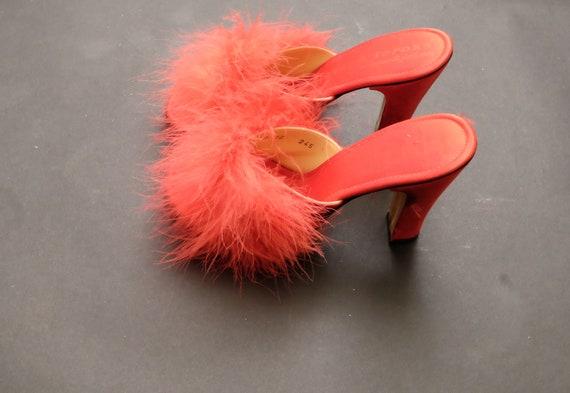 Vintage Red Feather Boa Peep Toed Kitten Heels
