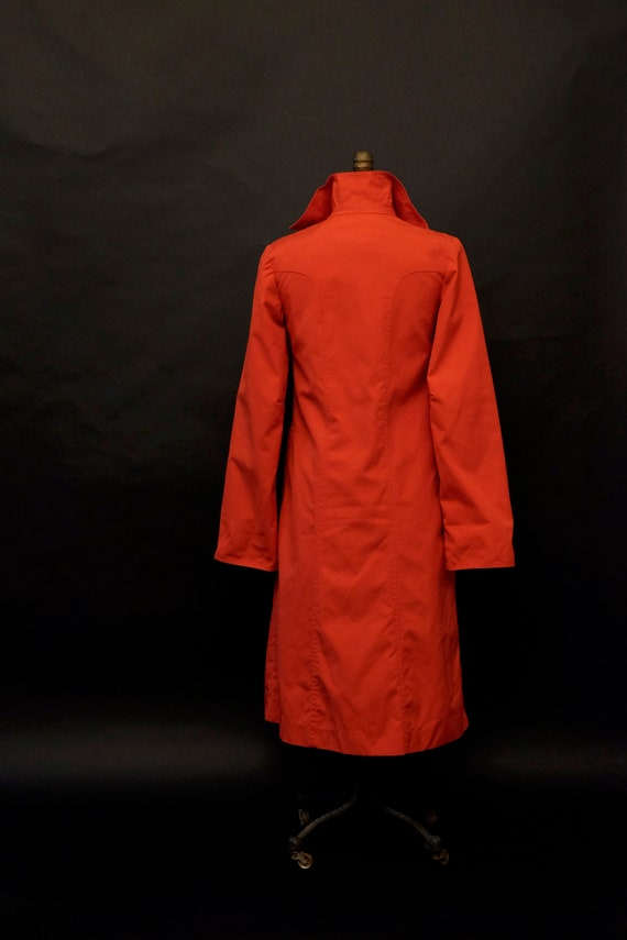 1980s Red Rain Trench Coat - image 6