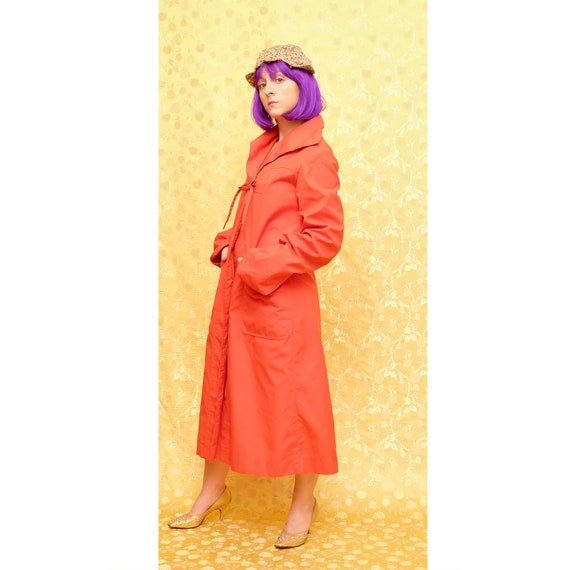 1980s Red Rain Trench Coat - image 9