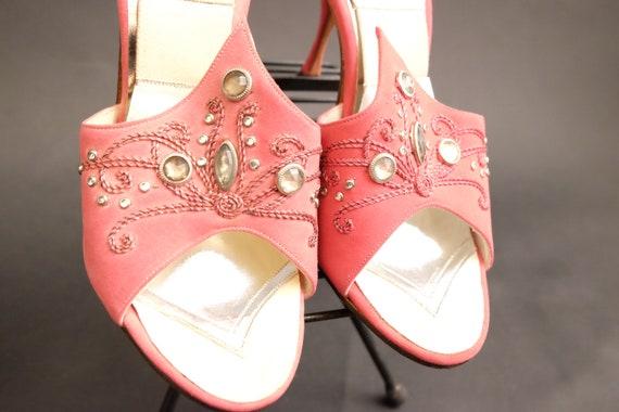 Vintage 1950s Spring-o-lators Heels Shoes Pink Spi - image 7