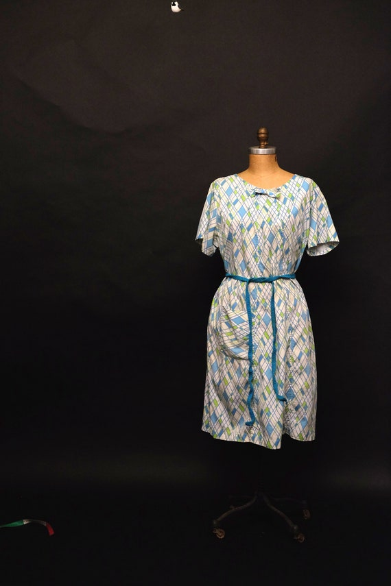1950s Blue and Green House Dress