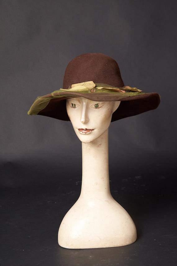 Vintage Wide Brim Brown Hat
