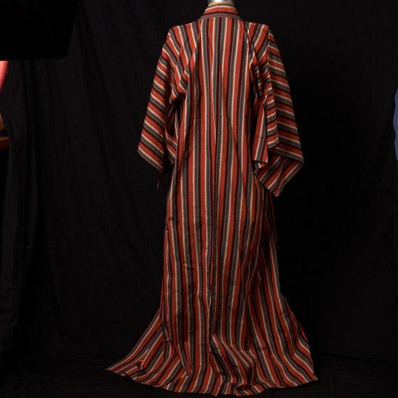 1950s Striped Cotton Homespun Kimono - image 5