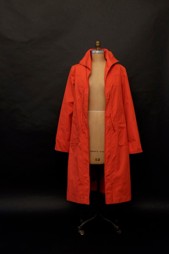 1980s Red Rain Trench Coat - image 8