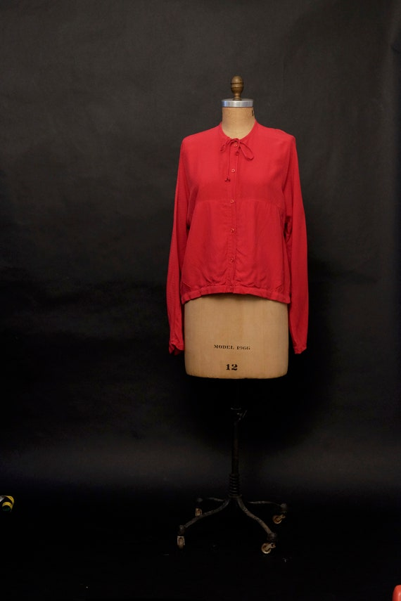 1970s Red Silky Chore Shirt