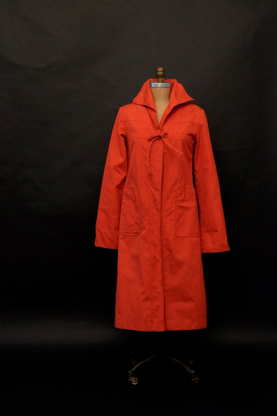 1980s Red Rain Trench Coat - image 4
