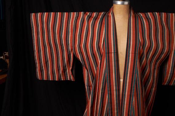 1950s Striped Cotton Homespun Kimono - image 9