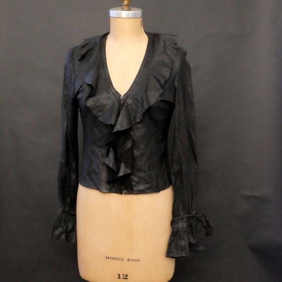 Glam Rock Black Leather Shirt Jacket Barnucci