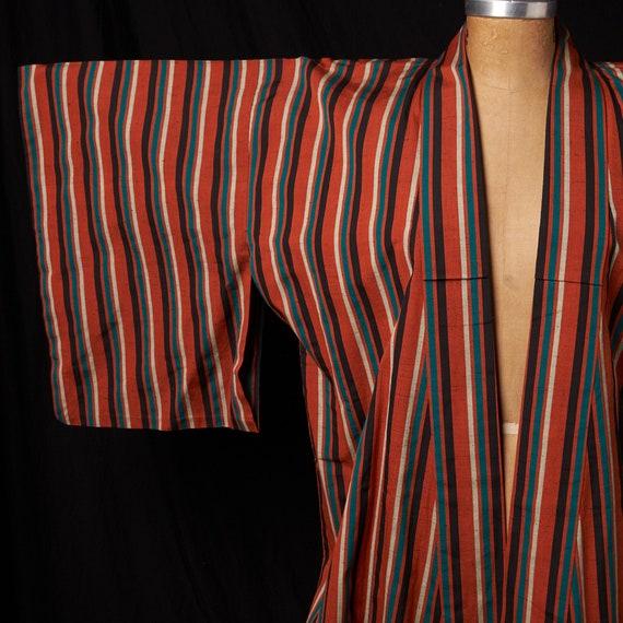 1950s Striped Cotton Homespun Kimono - image 10