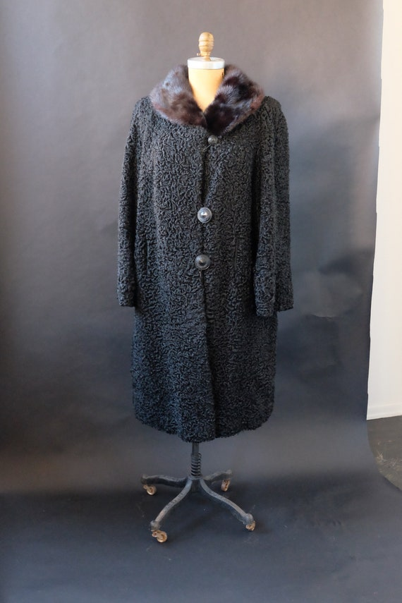 1950s Persian Curly Lamb Fur Swing Coat