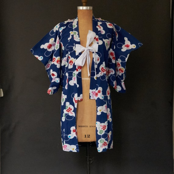 Vintage 1950s Rare Cotton Childs Kimono Authentic Unisex Size M Huge Pocket Sleeves Fan Dragonfly Hibiscus