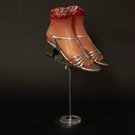 1970s Shiny Silver Strappy Shoes Sandals