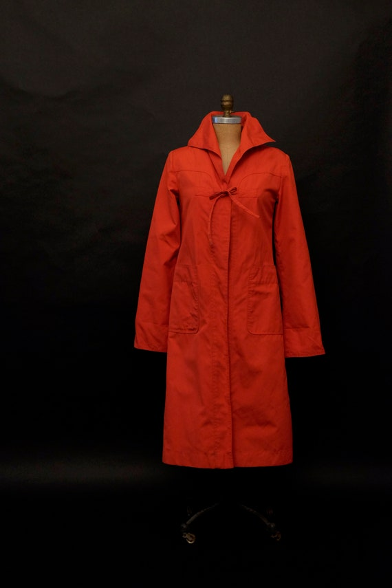 1980s Red Rain Trench Coat - image 1